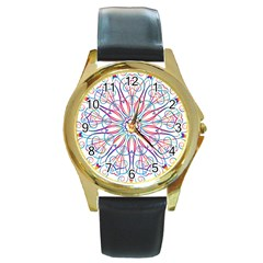 Frame Star Rainbow Love Heart Gold Purple Blue Round Gold Metal Watch by Alisyart