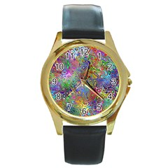 Glass Rainbow Color Round Gold Metal Watch by Alisyart
