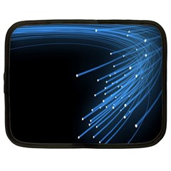 Abstract Light Rays Stripes Lines Black Blue Netbook Case (xxl)  by Alisyart