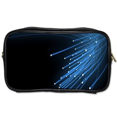 Abstract Light Rays Stripes Lines Black Blue Toiletries Bags by Alisyart