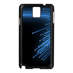 Abstract Light Rays Stripes Lines Black Blue Samsung Galaxy Note 3 N9005 Case (black) by Alisyart