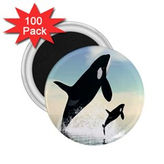 Whale Mum Baby Jump 2 25  Magnets (100 Pack)  by Alisyart