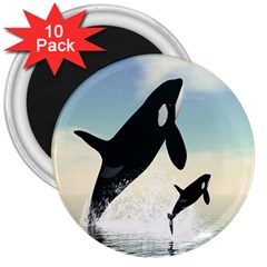 Whale Mum Baby Jump 3  Magnets (10 Pack)  by Alisyart