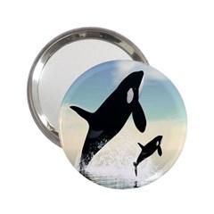 Whale Mum Baby Jump 2 25  Handbag Mirrors by Alisyart