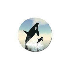 Whale Mum Baby Jump Golf Ball Marker by Alisyart