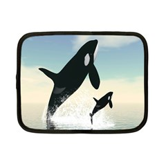 Whale Mum Baby Jump Netbook Case (small)  by Alisyart