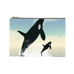Whale Mum Baby Jump Cosmetic Bag (large)  by Alisyart