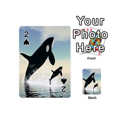 Whale Mum Baby Jump Playing Cards 54 (mini)  by Alisyart