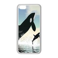 Whale Mum Baby Jump Apple Iphone 5c Seamless Case (white) by Alisyart