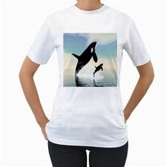 Whale Mum Baby Jump Women s T Shirt (white)  by Alisyart