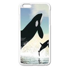 Whale Mum Baby Jump Apple Iphone 6 Plus/6s Plus Enamel White Case by Alisyart