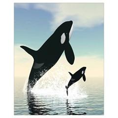 Whale Mum Baby Jump Drawstring Bag (small) by Alisyart