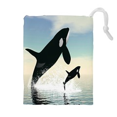 Whale Mum Baby Jump Drawstring Pouches (extra Large) by Alisyart