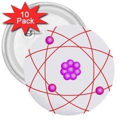 Atom Physical Chemistry Line Red Purple Space 3  Buttons (10 Pack)  by Alisyart