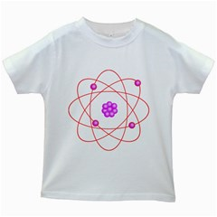 Atom Physical Chemistry Line Red Purple Space Kids White T Shirts by Alisyart
