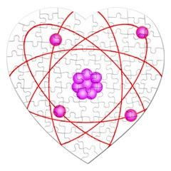 Atom Physical Chemistry Line Red Purple Space Jigsaw Puzzle (heart) by Alisyart