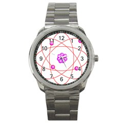 Atom Physical Chemistry Line Red Purple Space Sport Metal Watch by Alisyart