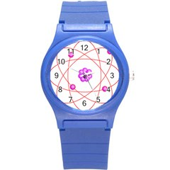 Atom Physical Chemistry Line Red Purple Space Round Plastic Sport Watch (s) by Alisyart