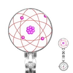 Atom Physical Chemistry Line Red Purple Space Stainless Steel Nurses Watch by Alisyart