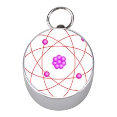 Atom Physical Chemistry Line Red Purple Space Mini Silver Compasses by Alisyart