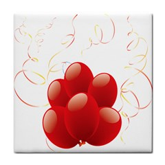 Balloon Partty Red Tile Coasters by Alisyart