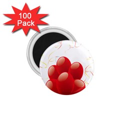 Balloon Partty Red 1 75  Magnets (100 Pack)  by Alisyart