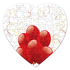 Balloon Partty Red Jigsaw Puzzle (heart) by Alisyart