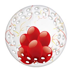 Balloon Partty Red Round Filigree Ornament (two Sides) by Alisyart