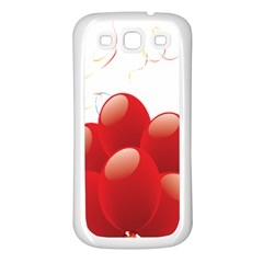 Balloon Partty Red Samsung Galaxy S3 Back Case (white) by Alisyart