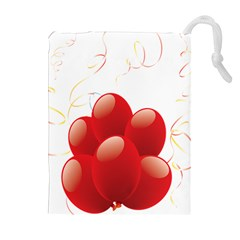 Balloon Partty Red Drawstring Pouches (extra Large) by Alisyart