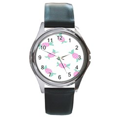 Candy Pink Blue Sweet Round Metal Watch by Alisyart
