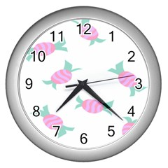 Candy Pink Blue Sweet Wall Clocks (silver)  by Alisyart
