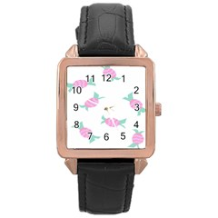 Candy Pink Blue Sweet Rose Gold Leather Watch  by Alisyart