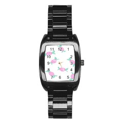 Candy Pink Blue Sweet Stainless Steel Barrel Watch by Alisyart