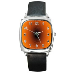 Abstract Circle Hole Black Orange Line Square Metal Watch by Alisyart