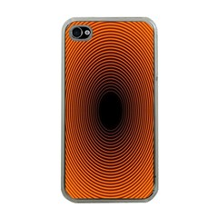 Abstract Circle Hole Black Orange Line Apple Iphone 4 Case (clear)
