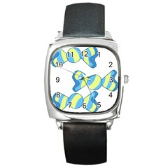 Candy Yellow Blue Square Metal Watch by Alisyart