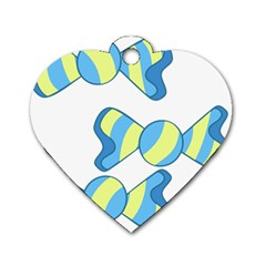 Candy Yellow Blue Dog Tag Heart (one Side) by Alisyart