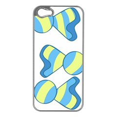 Candy Yellow Blue Apple Iphone 5 Case (silver) by Alisyart