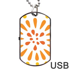 Circle Orange Dog Tag Usb Flash (one Side) by Alisyart