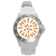 Circle Orange Round Plastic Sport Watch (l) by Alisyart