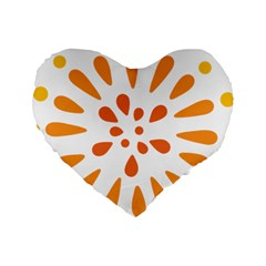 Circle Orange Standard 16  Premium Heart Shape Cushions by Alisyart