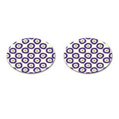 Circle Purple Green White Cufflinks (oval) by Alisyart