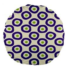 Circle Purple Green White Large 18  Premium Round Cushions by Alisyart