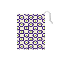 Circle Purple Green White Drawstring Pouches (small)  by Alisyart
