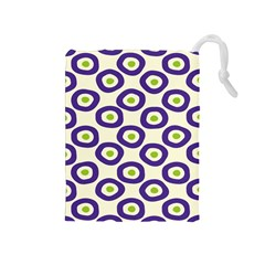 Circle Purple Green White Drawstring Pouches (medium)  by Alisyart