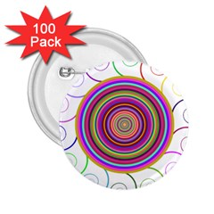 Abstract Spiral Circle Rainbow Color 2 25  Buttons (100 Pack)  by Alisyart