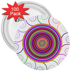 Abstract Spiral Circle Rainbow Color 3  Buttons (100 Pack)  by Alisyart