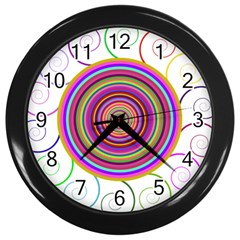Abstract Spiral Circle Rainbow Color Wall Clocks (black) by Alisyart