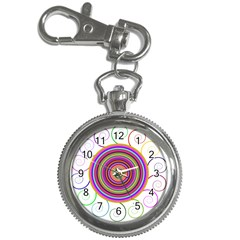 Abstract Spiral Circle Rainbow Color Key Chain Watches by Alisyart